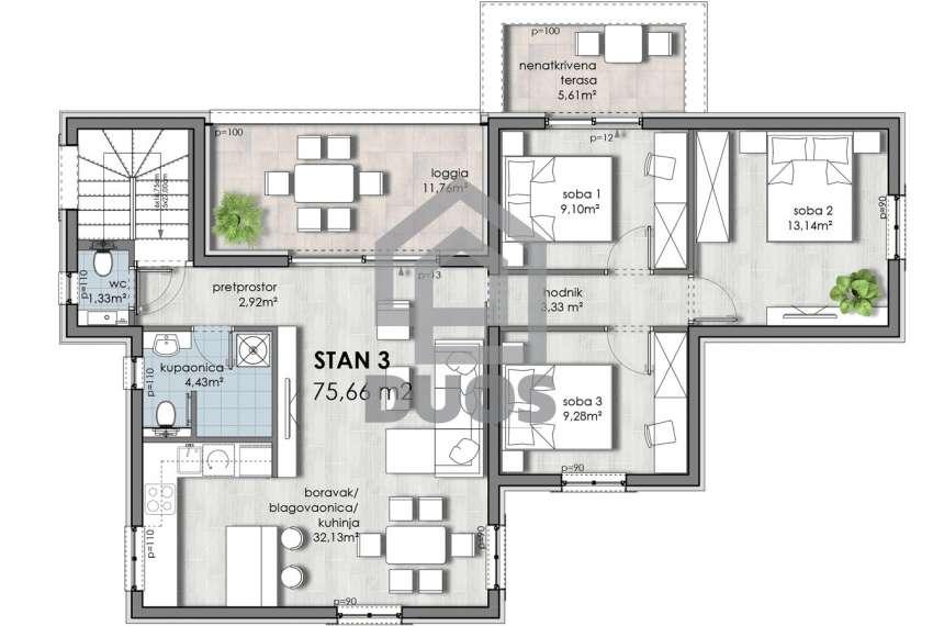 Trosoban penthaus s pogledom na more - garaža - privatnost